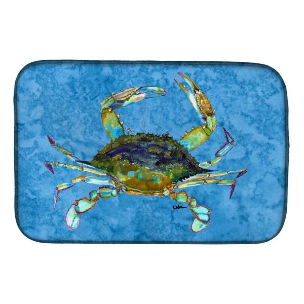 Caroline S Treasures 14 In X 21 In Multi Color Crab Dish Drying Mat 8656ddm The Home Depot