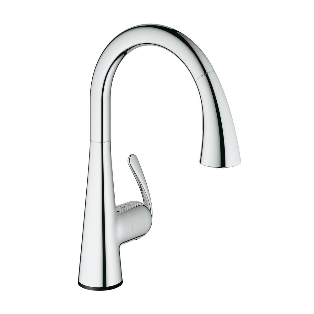 grohe ladylux faucet pull down grohe ladylux cafe touch singlehandle pulldown sprayer kitchen faucet in starlight chrome