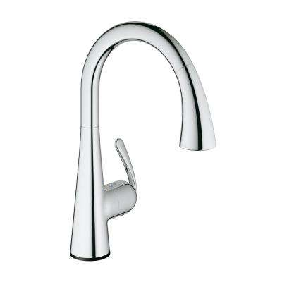 LadyLux Cafe Touch Single-Handle Pull-Down Sprayer Kitchen Faucet in StarLight Chrome