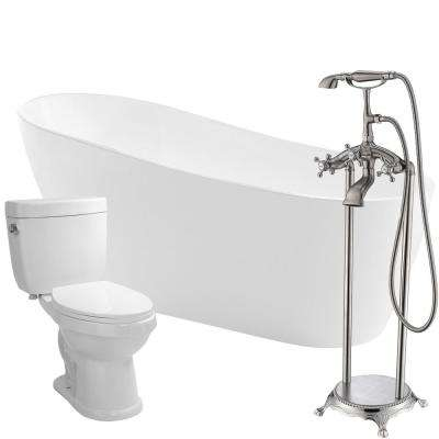 Trend 67 in. Acrylic Flatbottom Non-Whirlpool Bathtub in White with Tugela Faucet and Talos 1.6 GPF Toilet