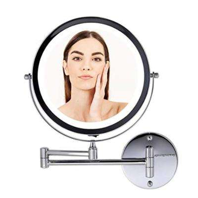 Polished Chrome Wall Mount Mirror Magnifying 1X and 7X, LED Ring Light Battery-Operated