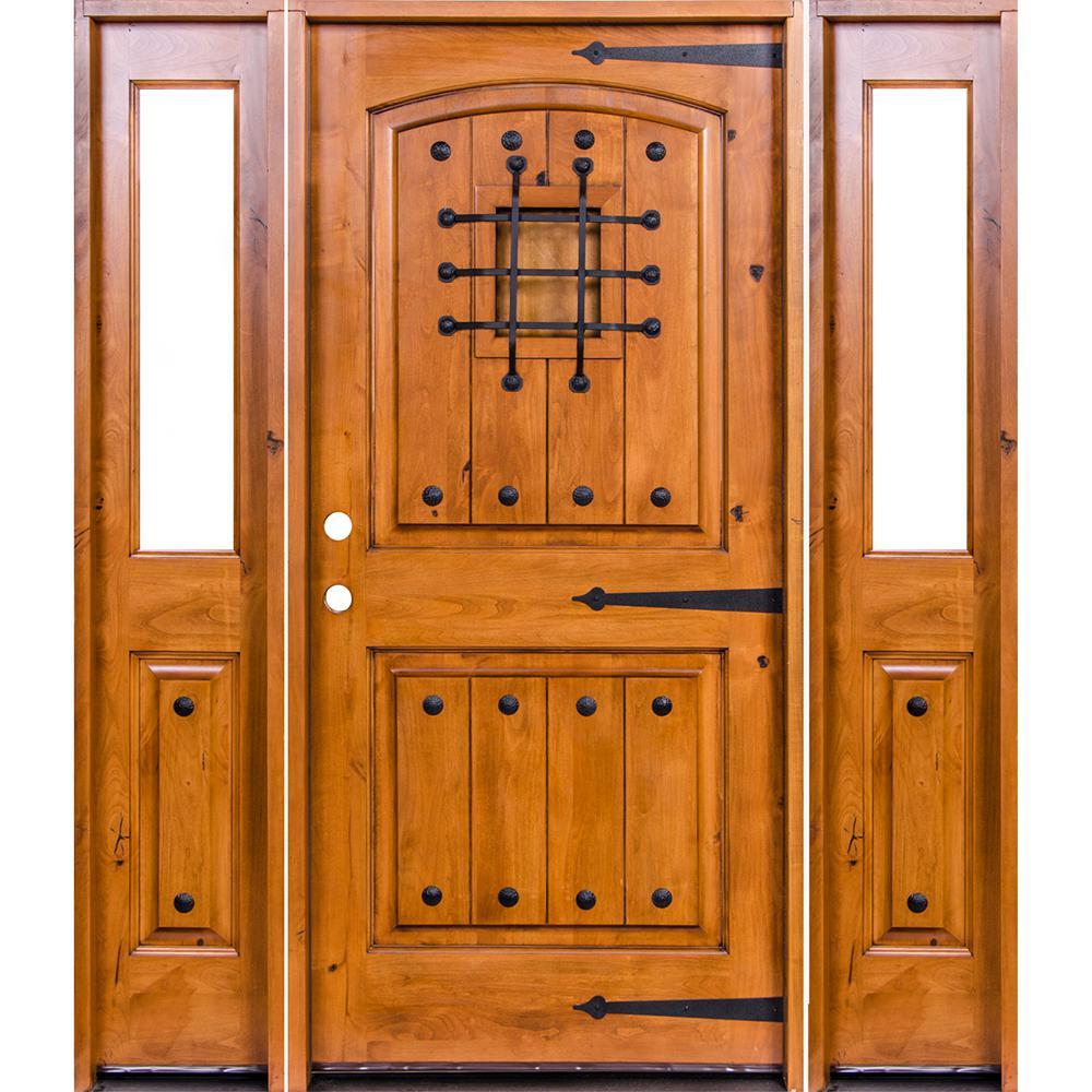 Krosswood Doors 64 in. x 80 in. Mediterranean Alder Arch Top Clear Low-E Unfinished Wood Right-Hand Prehung Front Door/Half Sidelites