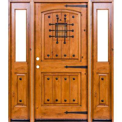 64 in. x 80 in. Mediterranean Alder Arch Top Clear Low-E Unfinished Wood Right-Hand Prehung Front Door/Half Sidelites