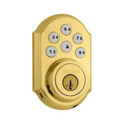 SmartCode 909 Single Cylinder Lifetime Polished Brass Electronic Deadbolt featuring SmartKey