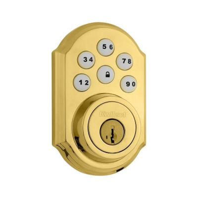 SmartCode 909 Lifetime Polished Brass Single Cylinder Electronic Deadbolt Featuring SmartKey Security