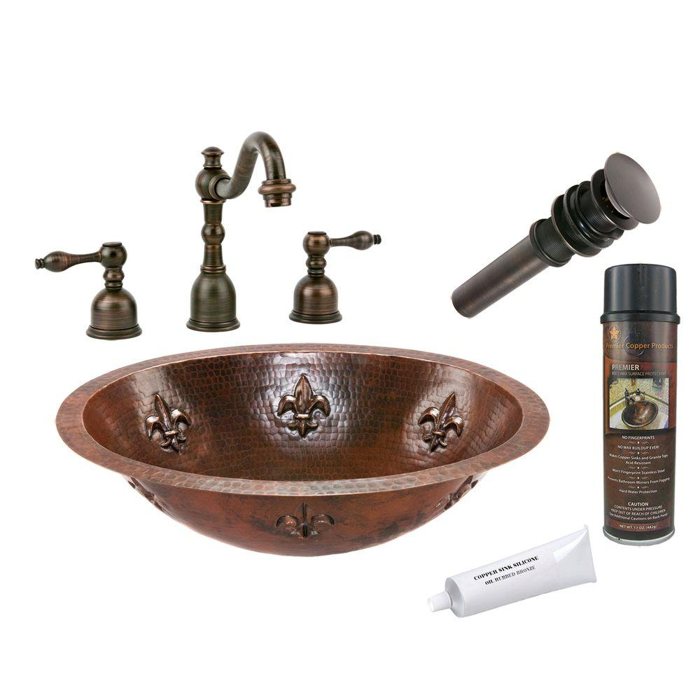 All-in-One Oval Fleur De Lis Under Counter Hammered Copper Bathroom Sink