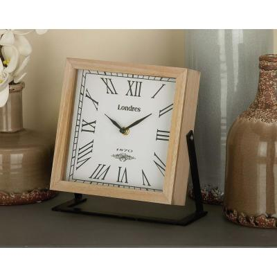 New Traditional 9 in. x 9 in. Brown Square Wood and Metal Clock
