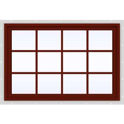 47.5 in. x 35.5 in. V-4500 Series Fixed Picture Vinyl Window with Grids in Red