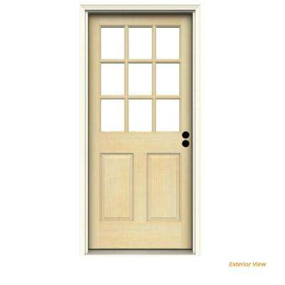 30 in. x 80 in. 9-Lite Unfinished Wood Prehung Left-Hand Inswing Front Door with Primed AuraLast Jamb and Brickmold