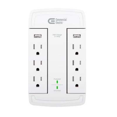 CE 6-Outlet Surge Protect Swivel Wall Tap USB, White