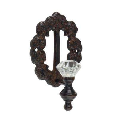 Weathered Rust Decorative Metal Wall Hook with Crystal Knob