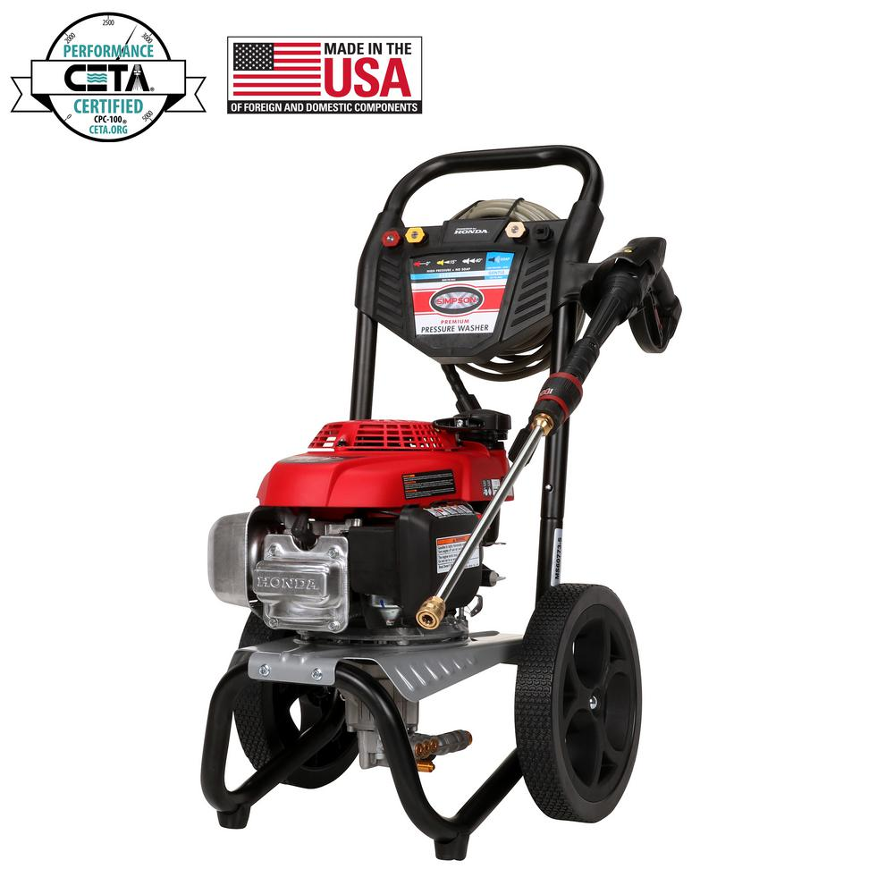 simpson pressure washers 60784 64_1000 simpson megashot 2800 psi at 2 3 gpm honda gcv160 premium gas