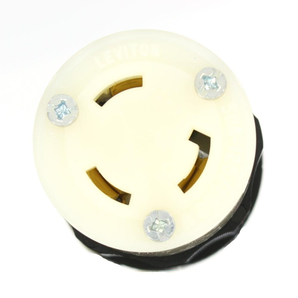 30 Amp 125/250-Volt Locking Grounding Connector, Black/White