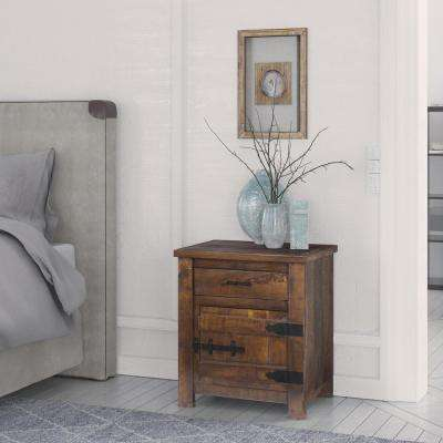 Rustic Light Coffee Brown Storage End Table