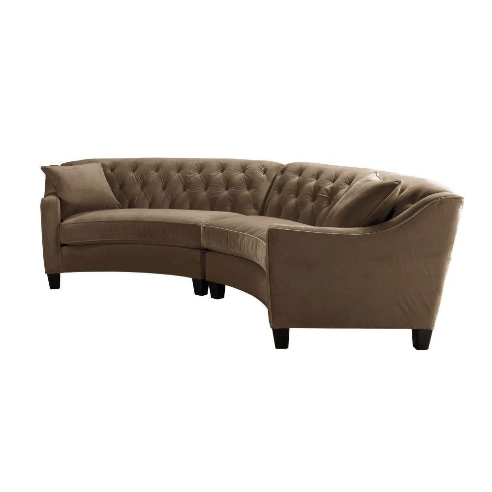 Home Decorators Collection Home Decorators Collection Riemann 2-Piece Mocha Microsuede Sectional, Microsuede Mocha