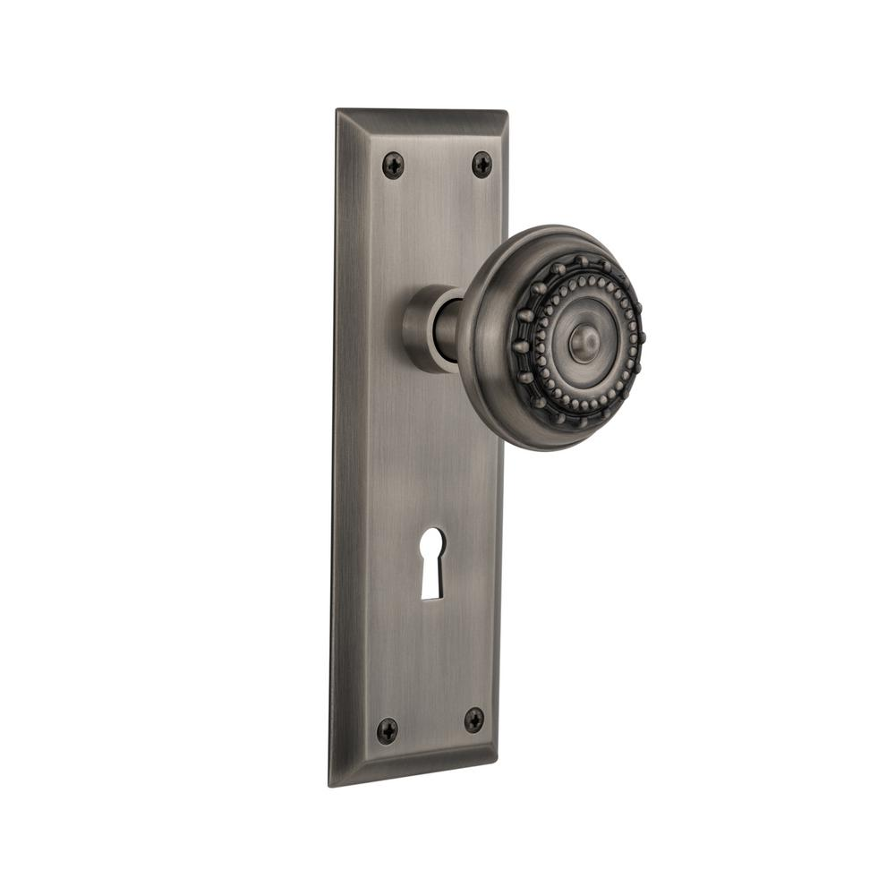 New York Plate Interior Mortise Meadows Door Knob in Antique Pewter