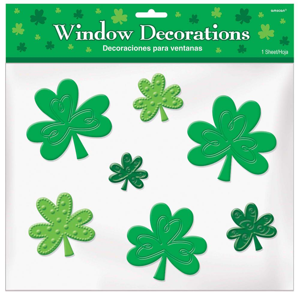 Amscan St Patrick S Day Green Shamrock Gel Clings 4 Pack