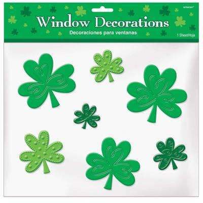 St. Patrick's Day Green Shamrock Gel Clings (4-Pack)