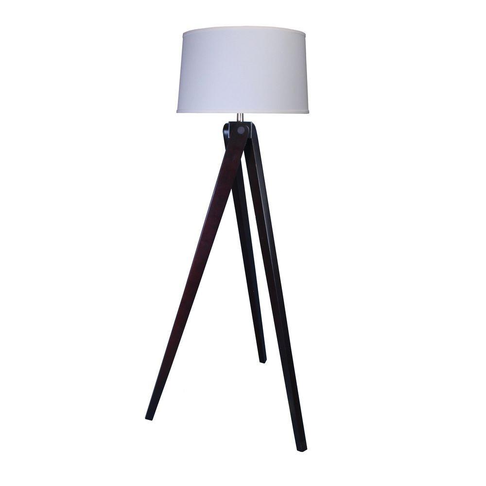 60 in. Espresso Wood Tripod Floor Lamp