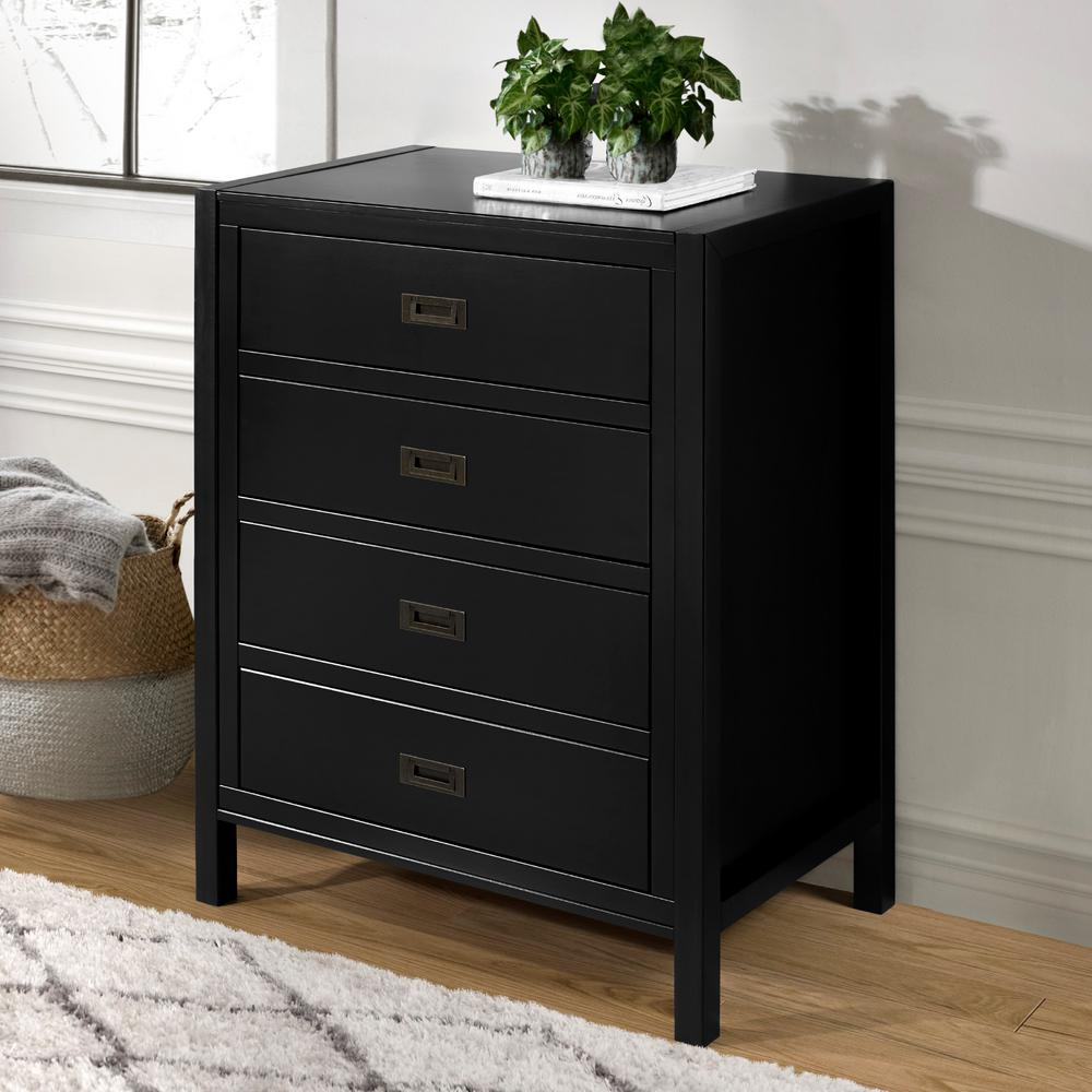 40'' Classic Solid Wood 4-Drawer Chest - Black
