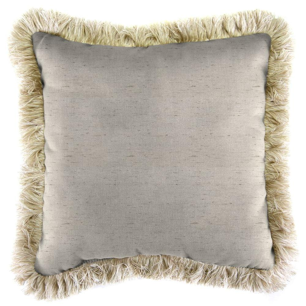 Jordan Manufacturing Sunbrella Frequency Parchment Square Outdoor Throw Pillow with Canvas Fringe