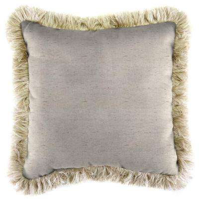 Sunbrella Frequency Parchment Square Outdoor Throw Pillow with Canvas Fringe