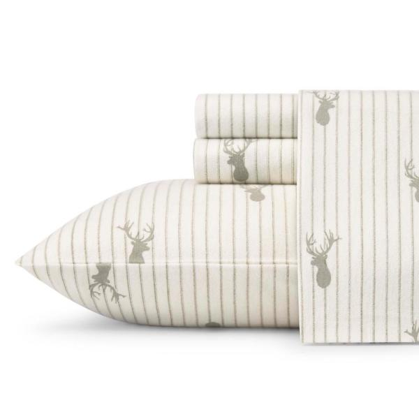 4-Piece Deer Lodge Beige Graphic Flannel Full Sheet Set