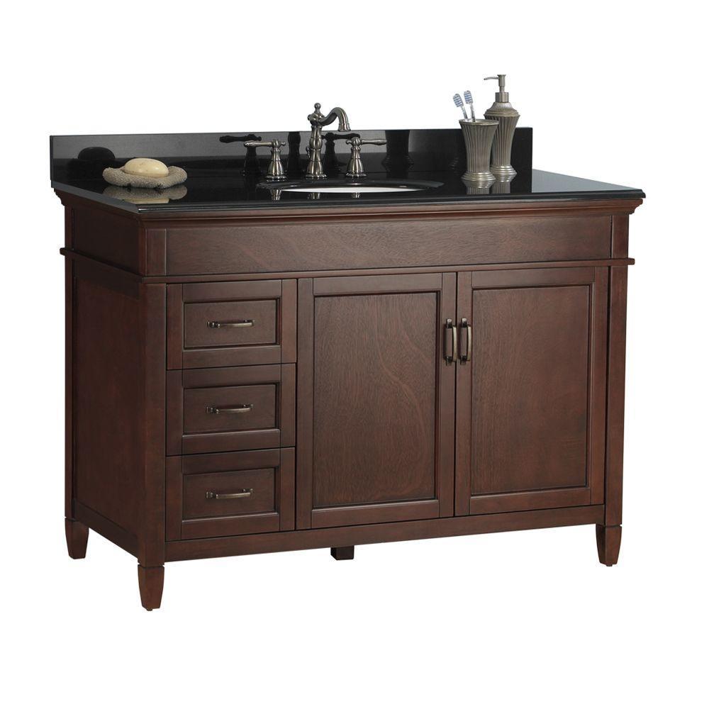 Ashburn 49 in. W x 22 in. D Bath Vanity in Mahogany with Left Drawers Granite Vanity Top in Black