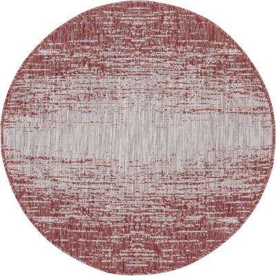 Rust Red Ombre Outdoor 4 ft. Round Area Rug
