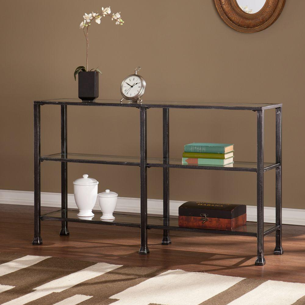 Merveilleux Southern Enterprises Black And Distressed Silver Glass Top Console Table