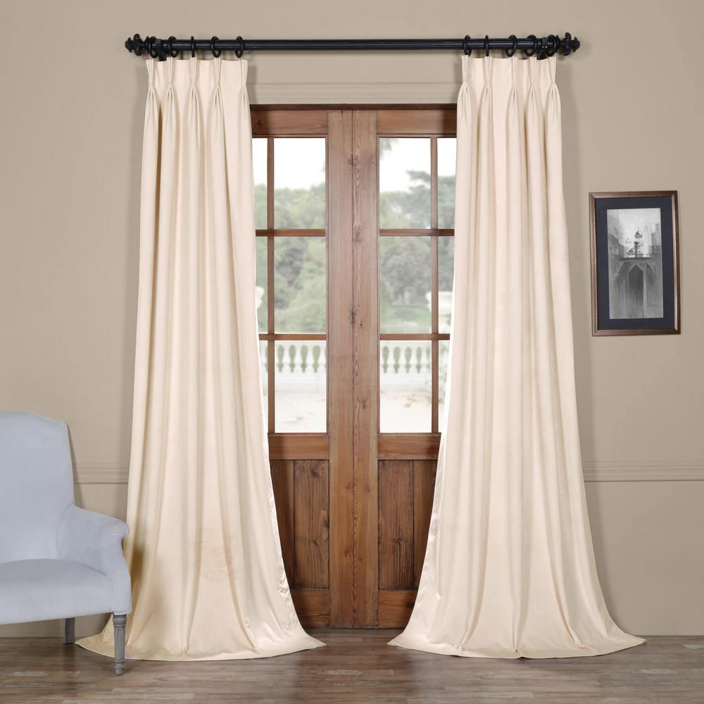 Exclusive Fabrics & Furnishings Blackout Signature Ivory Pleated - 25 in. W x 96 in. L (1 Panel)