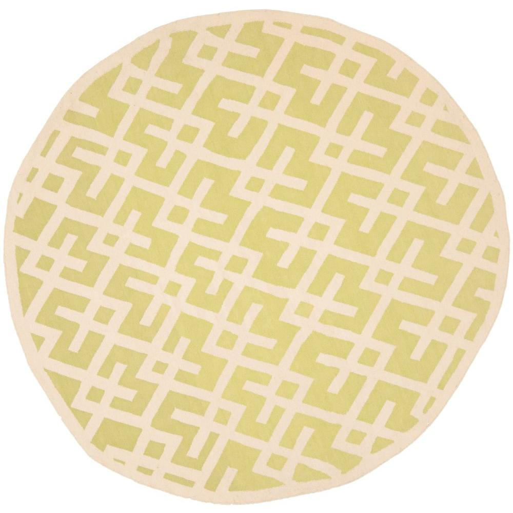 Dhurries Light Green/Ivory 6 ft. x 6 ft. Round Area Rug