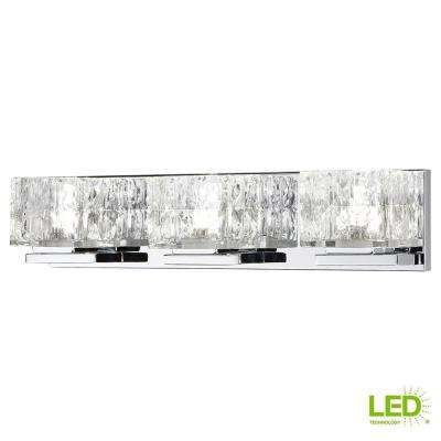 75-Watt Equivalent 3-Light Chrome Integrated LED Vanity Light with Clear Cube Glass