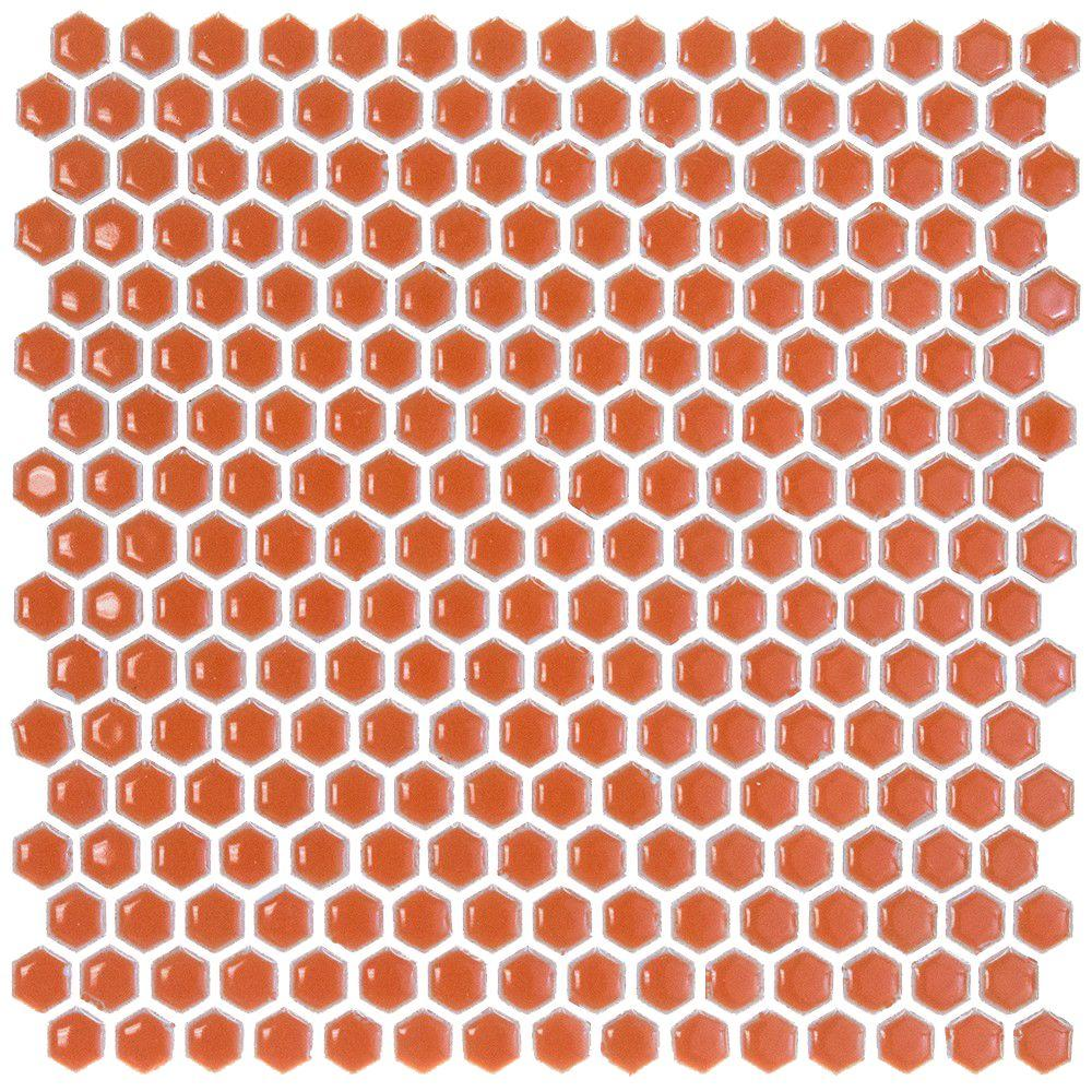 Bliss Edged Hexagon Polished Mango Ceramic Mosaic Floor and Wall Tile