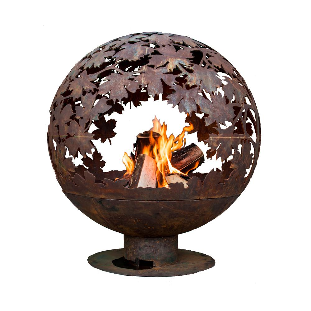 Esschert Design Leaf 32 in  x 36 in  Round Metal Wood Burning Fire Pit in  Rust
