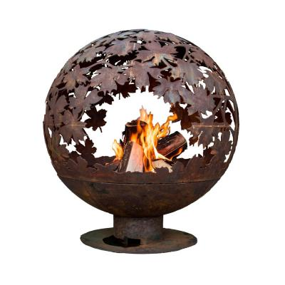 Leaf 32 in. x 36 in. Round Metal Wood Burning Fire Pit in Rust