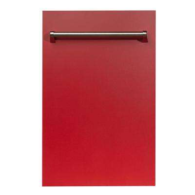 18 in. Top Control Dishwasher in Red Matte with Stainless Steel Tub and Traditional Style Handle