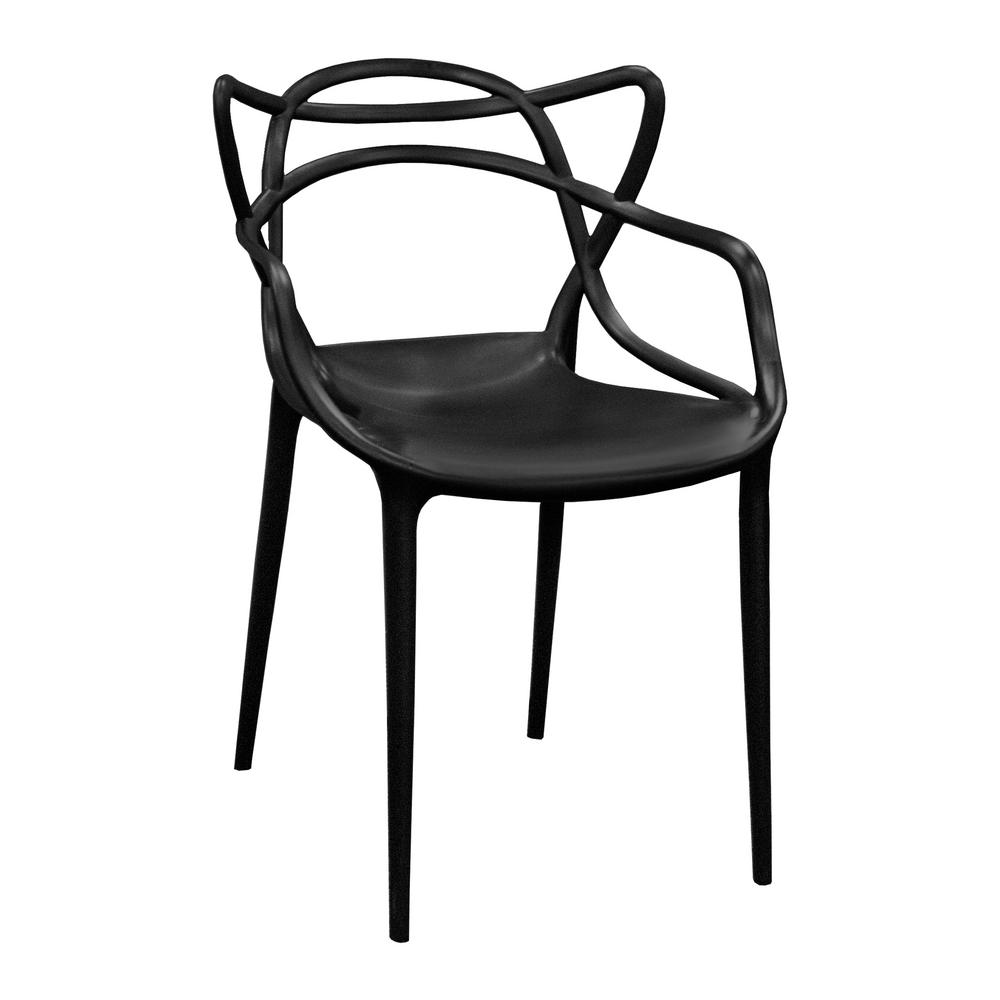 Excellent Modern Plastic Black Loop Dining Side Chair Set Of 2 Caraccident5 Cool Chair Designs And Ideas Caraccident5Info