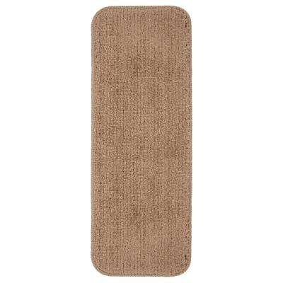 Sweethome Stores Luxury Collection Camel 9 in. x 26 in. Rubber Back Shaggy Stair Tread Cover (Set of 7)
