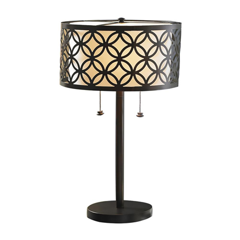 Bel Air Lighting Earling 25 in. Rubbed Oil Bronze Table Lamp with Metal Shade