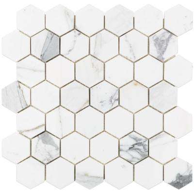Hexagon Calacatta Marble Mosaic - 3 in. x 6 in. x 10 mm Tile Sample