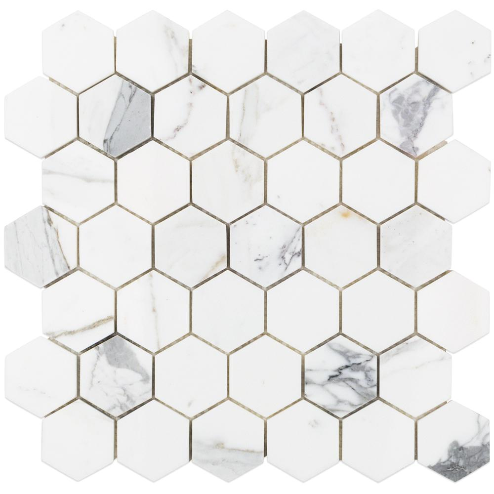Splashback Tile Hexagon Calacatta Marble Mosaic 3 In X 6 10 Mm Sample CAL2INHEXSMP