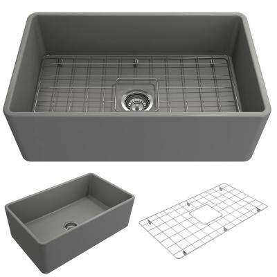 Classico Farmhouse Apron Front Fireclay 30 in. Single Bowl Kitchen Sink with Bottom Grid and Strainer in Matte Gray