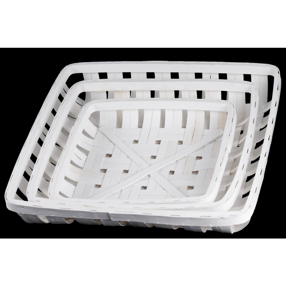 Square Wood Painted White Decorative Basket (Set of 3)