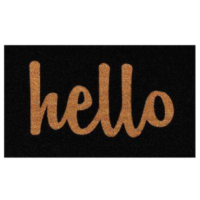 Hello Black/Natural Script 24 in. x 36 in. Door Mat