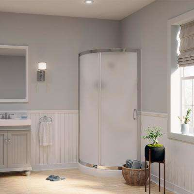 Breeze 31 in. x 31 in. x 76 in. Shower Kit with Intimacy Glass, Shower Base and Wall in White