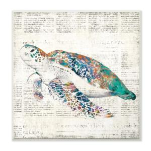 12 In X Multi Colored Sea Turtle On Aged Newspaper By Main Line Art Design Printed Wood Wall