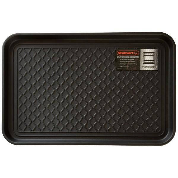 Black 15 in. x 24 in. Eco-Friendly Polypropylene Utility Boot Tray Mat