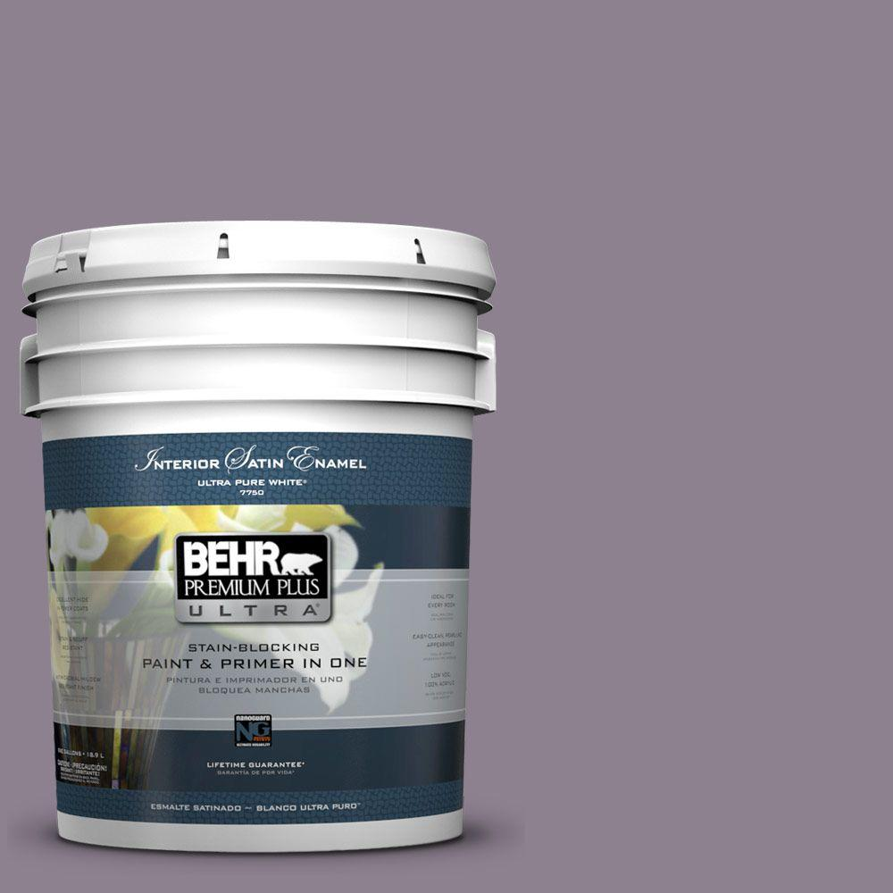 5 gal. #670F-5 Gothic Amethyst Satin Enamel Interior Paint and Primer
