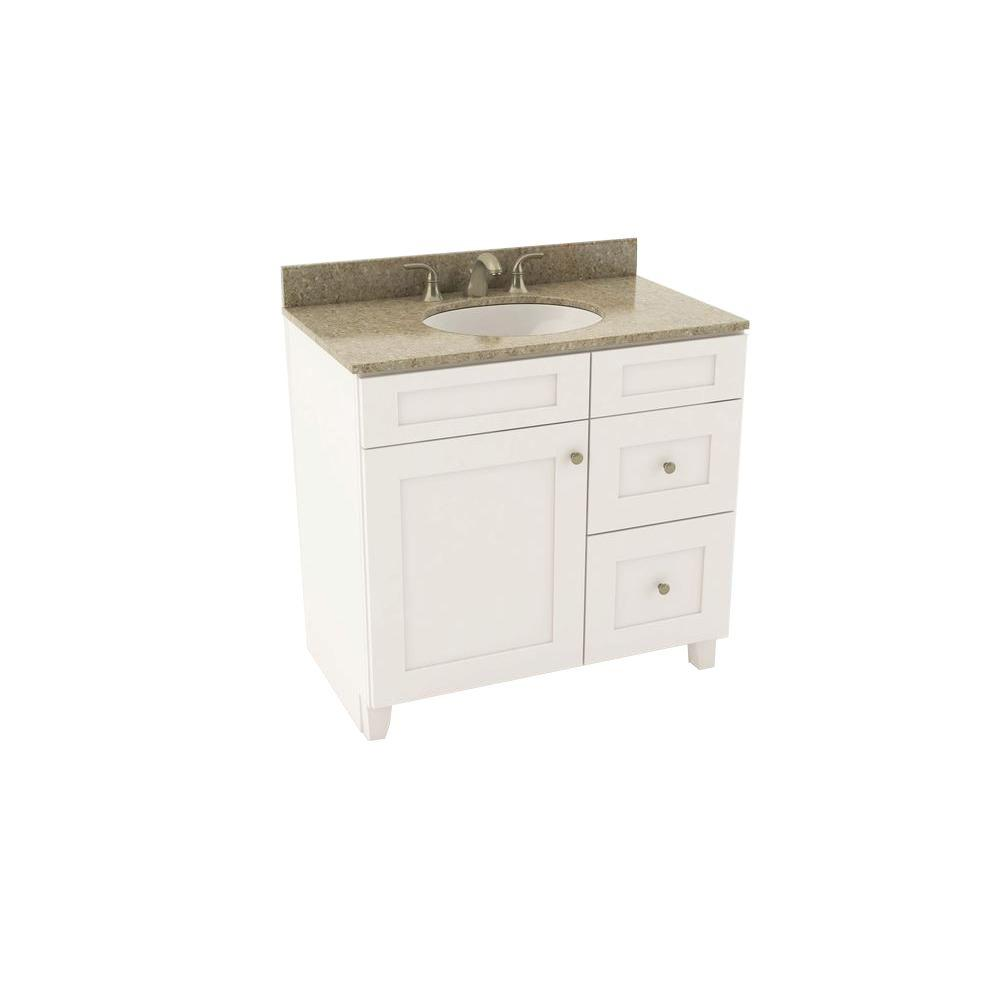 Reading 37 in. Vanity in Linen with Right Drawers and Silestone